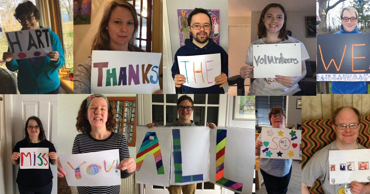 Collage of artists holding Thank You signs