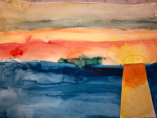 Watercolour of sunset over lake