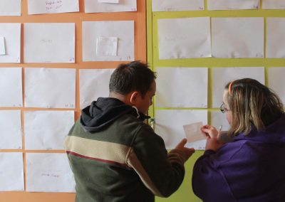 Two H'art artists working on a storyboard on wall