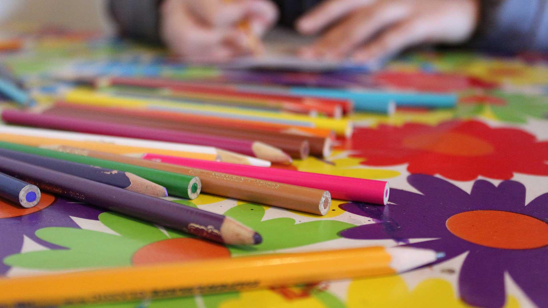Pencil crayons close up