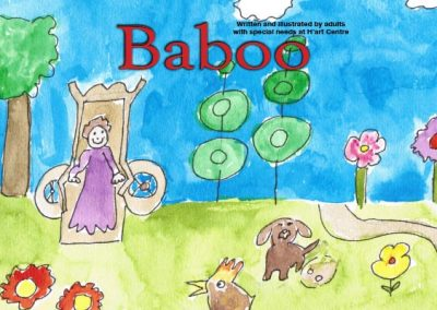 Book cover illustration, Baboo in park with animals