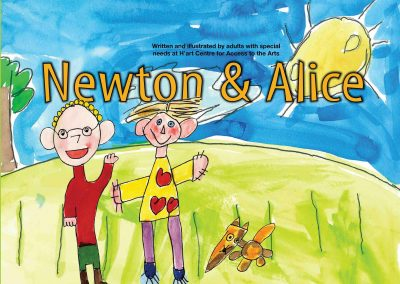 Book cover illustration, two friends in park under smiling sun