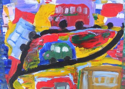 Acrylic painting of trucks and buses