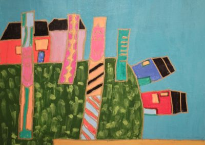 Acrylic painting of houses and totem poles