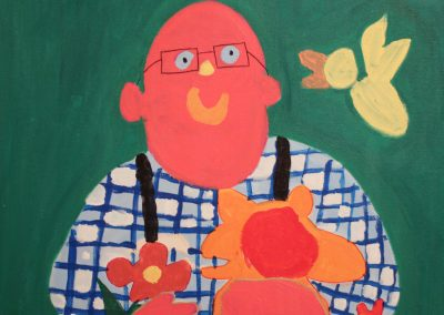 Acrylic painting of smiling man in checkered shirt holding flowers