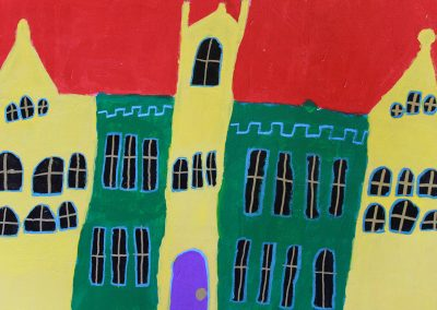 Acrylic painting of building at Queen's University