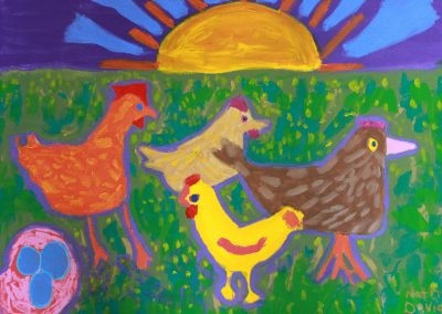 Acrylic painting of chickens and sunrise