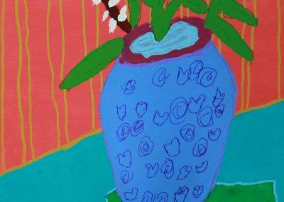 Acrylic painting, still life, flower vase
