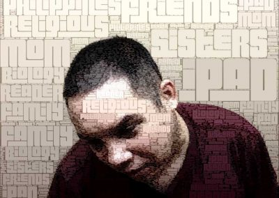 Digital self portrait of H'art artist made out of words