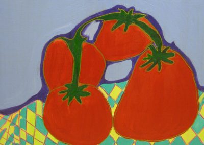 Acrylic painting of red tomatoes on checkered tablecloth