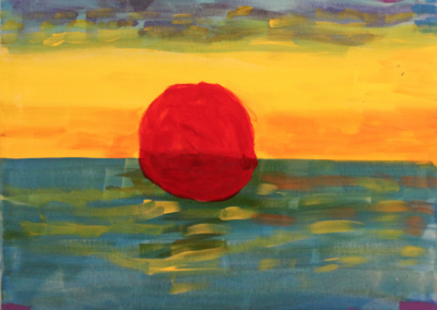 Canvas of red sunset reflected over water