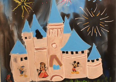 Multi media canvas of blue-spired castle and fireworks