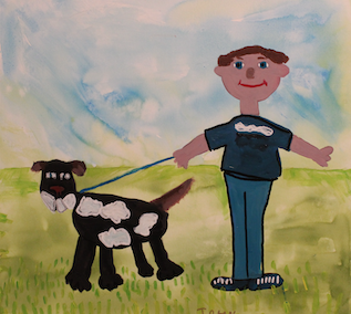 Canvas of a smiling man walking a spotted dog on a fine day
