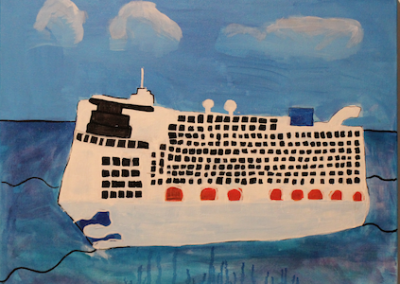 Canvas of a large cruise ship on calm water